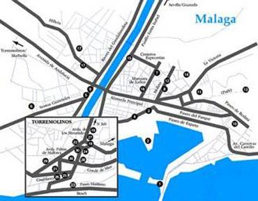Mapa de m laga lugares importantes de m laga capital for Guia telefonica malaga